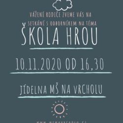 pozvánka na besedu pro rodiče 10.11. 2020 od 16,30 v MŠ Na Vrcholu